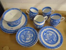 Blue and white tea service, some marked Willow Foley, 6 cups, 6 saucers, 6 side plates, slop bowl,
