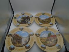 "Set of 4 Christian Seltmann picture plates, 10"" diameter"
