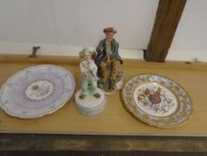 Collection of china to include Leonardo clown music box, Capodimonte figurine (a/f) and 2 royal