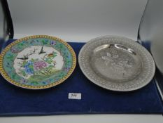 A Japanese display plate with birds and green enamel and a Wedgwood Etruria silver coloured plate,
