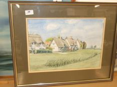 D C Macaree watercolour Cottages at Barrington Cambs 22 x 18 inches
