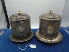 2 silver plated ornate caddys/biscuit barrel , approx 19cm incl handle one engraved Spiller,