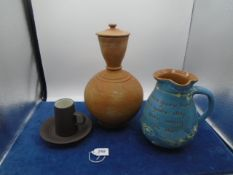Collection of studio pottery to incl Jug, Dansk cup and saucer etc
