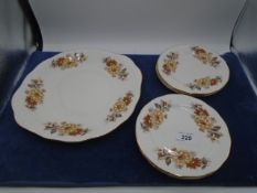 Queen Anne china cake plate and 6 side plates