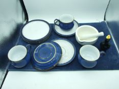 3 Denby Cups , Saucers and Plates , Bird Pie Funnel and Pestle & Mortar
