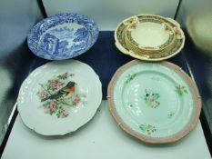 Grindley Fruit Bowl and 6 Dishes Copeland Blue White Bowl and 2 picture plates