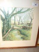 P Tofts Watercolour Bridge over stream 22 x 24 cm