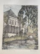 An original coloured etching of a European chateau / country house with stream in the fore ground.