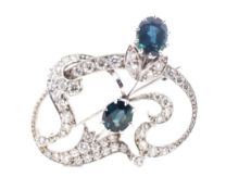 Sapphire and diamond set 18ct white gold brooch