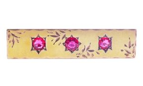 Antique pink glass set rose & yellow gold brooch