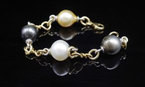 South Sea pearl and 18ct two tone gold bracelet