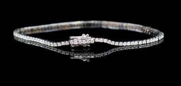 Diamond and 18ct white gold line bracelet