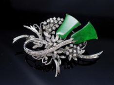 Jade, diamond and white gold brooch C.1960s