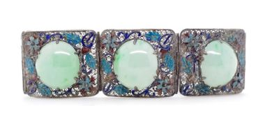 Early 20th C. Chinese jade, enamel and silver