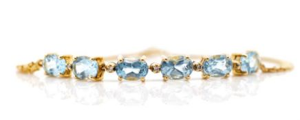 Topaz, diamond and 14ct yellow gold bracelet