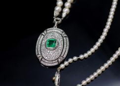 Art Deco Emerald, diamond and white gold pendant