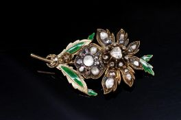 19th C. Rose cut diamond and enamel set brooch
