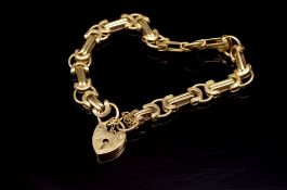 Fancy link 9ct yellow gold bracelet and heart