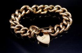 Edwardian 9ct rose gold bracelet and heart padlock