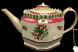 Early English pearlware octagonal teapot