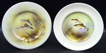 Two Royal Doulton handpainted fish cabinet plates