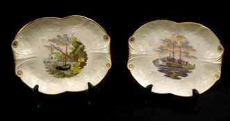 Rare pair of New Hall porcelain dishes