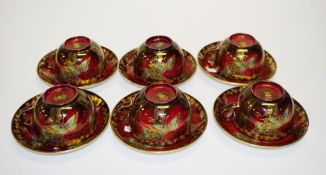 Six Crown Devon lustre cups/saucers