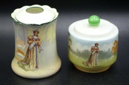 Royal Doulton Katherine hair tidy and a lidded jar