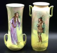 Pair of Royal Doulton Shakespeare vases