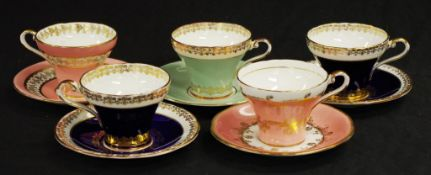 Set five Aynsley tea cups