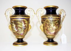 Pair antique H.S. Hancock Derby hand painted vases