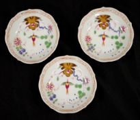 Three hand painted Meissen dishes