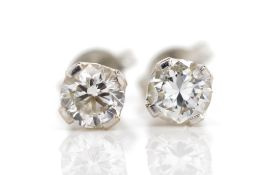 Diamond and white gold stud earrings