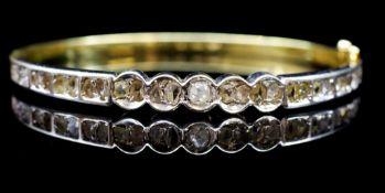 Rose cut diamond and two tone gold bangle