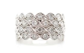 Four tier diamond and 18ct white gold ring
