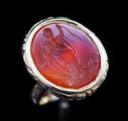 Carnelian intaglio and gold ring,