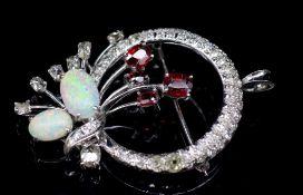 Opal, garnet and diamond set white gold
