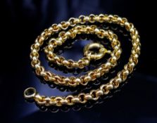Yellow gold belcher chain necklace