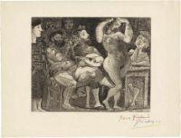 """Picasso, Pablo: En la Taberna. Pêcheurs Catalans en Bordée (Au Cabaret) [^] En la Taberna. Pêcheurs Catalans en Bordée (Au Cabaret) Radierung in Schwarz-Braun auf Montval-Bütten mit Wasserzeichen """"Vollard"""". 1934. 23,6 x 29,6 cm (34 x 44,8 cm). Mit Mehrfarbstift signiert """"Picasso"""" und gewidmet """"pour Frélaut"""". Baer 439 B d 1 (von D), Bloch 286.  Es geht hoch her in der turbulenten, lebendigen Radierung. Picasso versammelt in der Taverne - eine der wenigen in seinem gr..."""