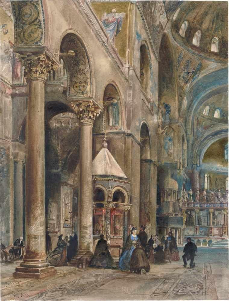 Alt, Rudolf von: Blick in das Innere des Domes von San Marco in Venedig[^] Blick in das Innere des Domes von San Marco in Venedig.Aquarell auf Velin. 40,8 x 31,1 cm. Unten links signiert