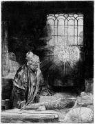 """Rembrandt Harmensz. van Rijn: Gelehrter in seiner Stube, genannt: Faust Gelehrter in seiner Stube, genannt: Faust. Radierung. 21 x 16 cm. Um 1652. B. 270, White/Boon (Hollstein) 270 II (von III), Nowell-Usticke 270 II (von VII), Hinterding/Rutgers (New Hollstein) 270 VI (von VII).   Die 1652 datierte Radierung zählt zu den rätselhaftesten Darstellungen im druckgraphischen Œuvre Rembrandts. Im Inventar von Clement de Jonghe von 1679 wird die Graphik als """"Practising Alchemist"""" geführt,..."""