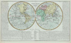 Clouet, Jean Baptiste: Weltkarte und 4 Kontinentkarten