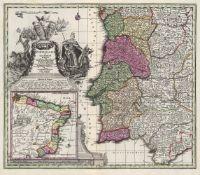 Seutter, Matthäus: Konvolut von 3 teilkolorierten Kupferstichkarten