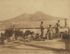 Gloeden, Wilhelm von: Nude youths on terrace with Naples harbor view in background