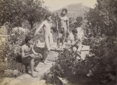 Gloeden, Wilhelm von: Young male nudes by fountain