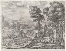 Borcht, Pieter van der: Phantastische Landschaft mit Abraham den Engeln die Füße waschend