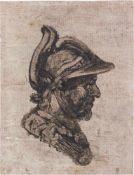 Castiglione, Giovanni Benedetto - Umkreis: Kopf eines Soldaten