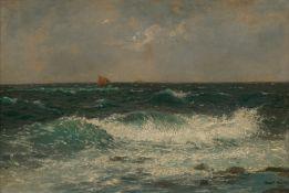 Bohrdt, Hans: Küste bei Kullen mit Schiffen am Horizont