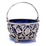 An Edward VII silver swing handled cream pail, maker's mark worn, Birmingham,