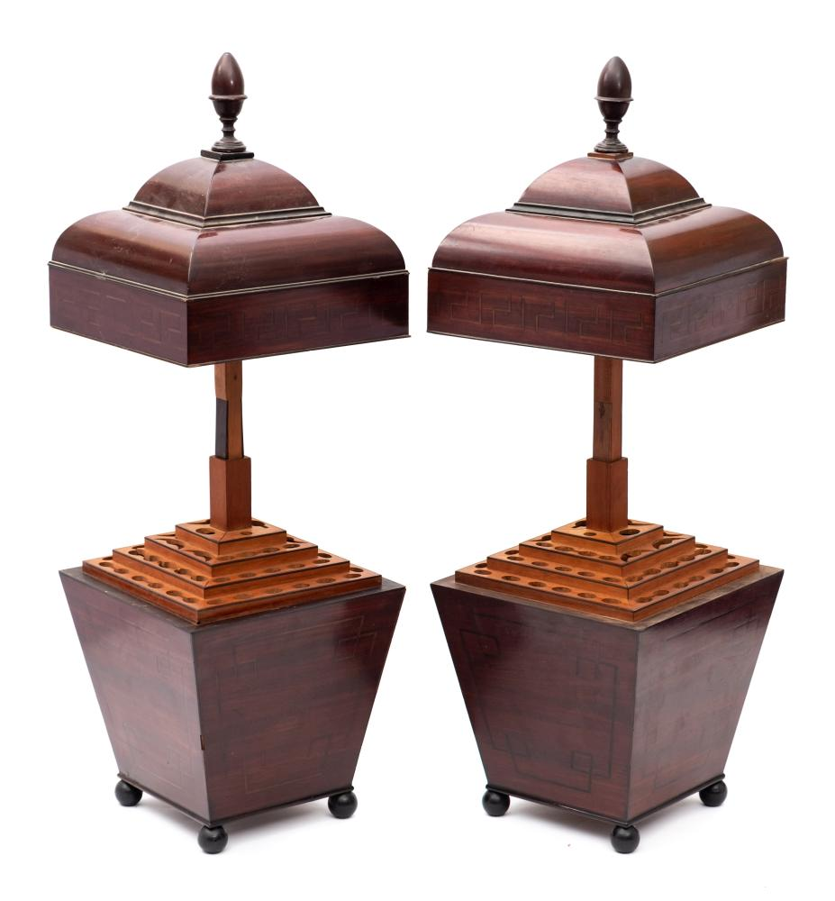 A pair of late Regency inlaid mahogany square cutlery urns: of tapering outline,